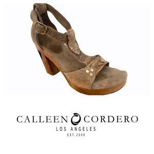 Calleen Cordero Suede & Wood Ankle Strap Platform